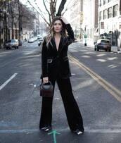 jacket,velvet blazer,black velvet pants,pumps,handbag,brown bag,classy