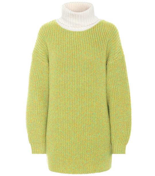 Tibi Tweedy wool oversized sweater in green