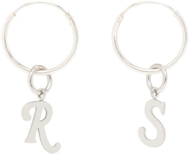 Raf Simons Silver Logo Earrings