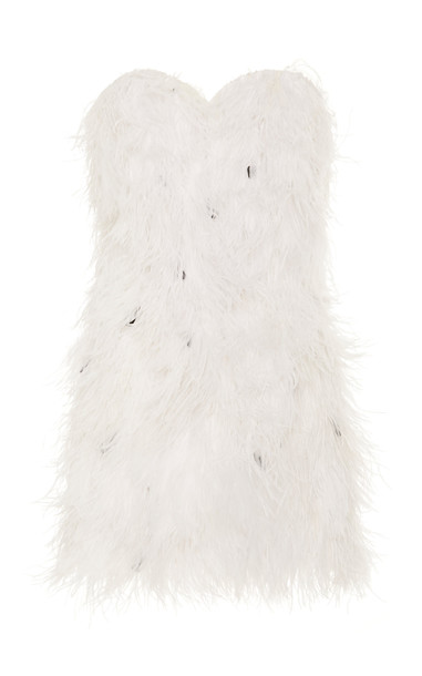 Michael Lo Sordo Ostrich Feather-Embellished Stretch-Cotton Mini Dress in white