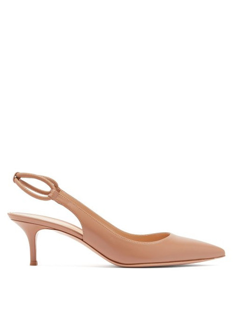 Gianvito Rossi - Pointed Toe Slingback Leather Pumps - Womens - Nude