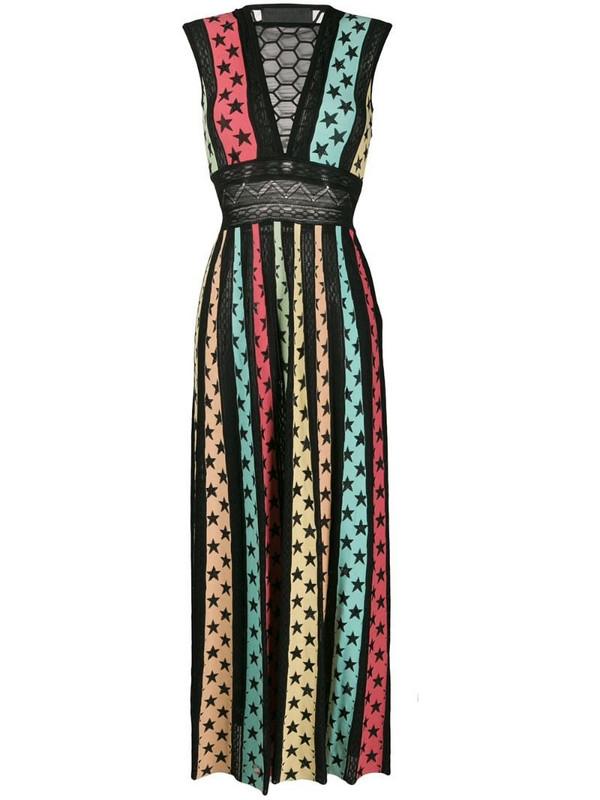 Philipp Plein Star print panelled maxi dress in black