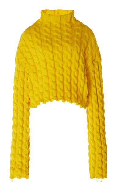 Balenciaga Oversized Cable-Knit Sweater in yellow