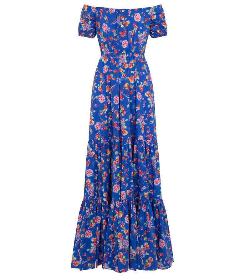 Caroline Constas Bardot floral cotton-blend maxi dress in blue
