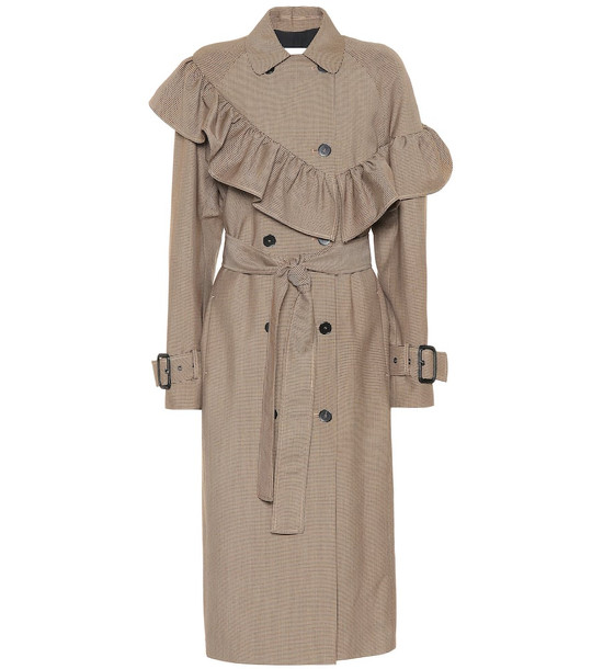 MSGM Checked wool-blend coat in brown
