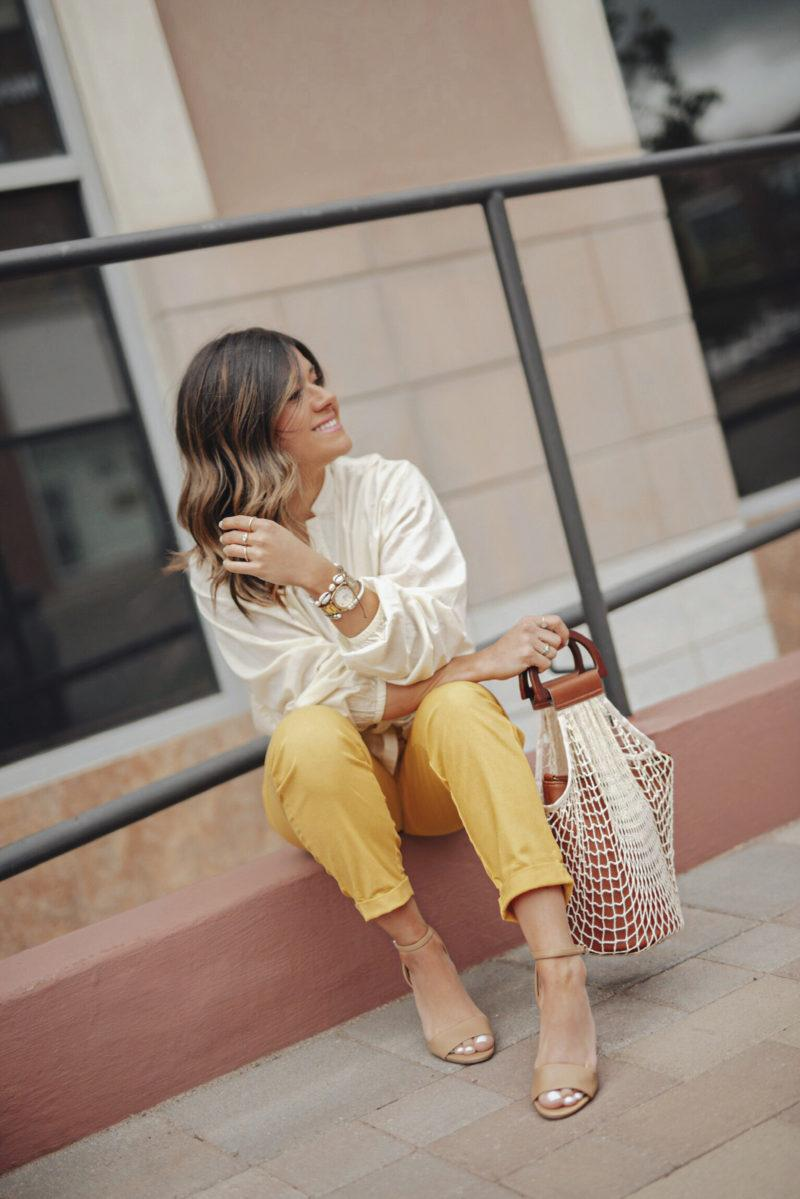chictalk blogger shoes pants top blouse bag yellow pants sandals white shirt spring outfits