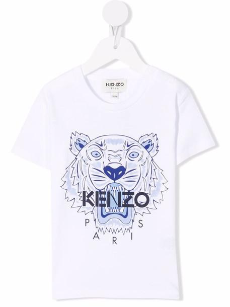 Kenzo Kids Tiger Head motif cotton T-Shirt - White