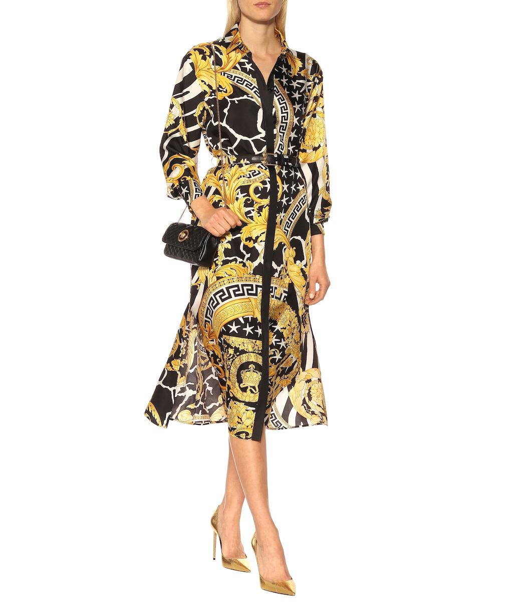 Baroque silk midi dress