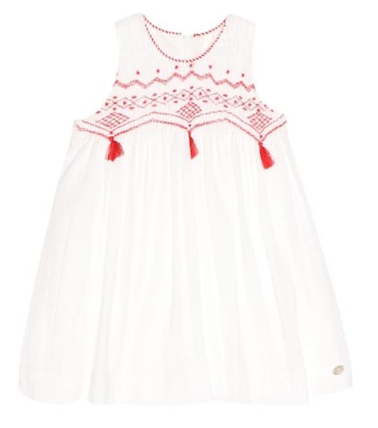 Tartine et Chocolat Embroidered cotton dress in white