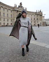 dress,knitted dress,grey dress,midi dress,ankle boots,lace up boots,black boots,army green jacket,puffer jacket,gucci belt,grey beanie