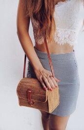 shorts,rattan bag,skirt,mini skirt
