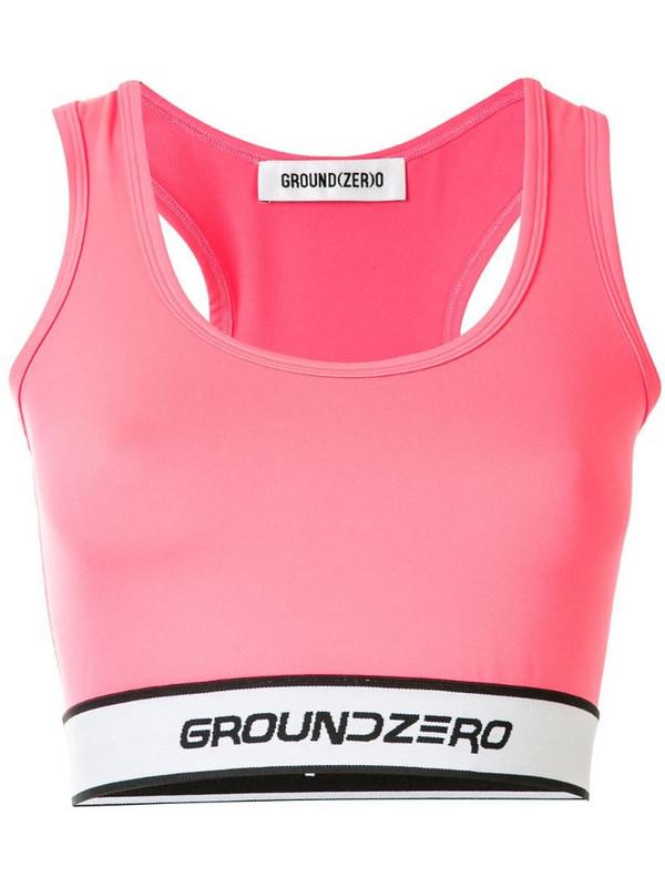 Ground Zero logo stamp crop top in pink