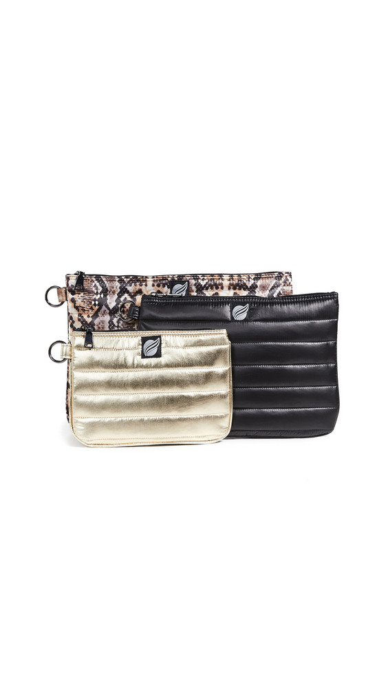 Think Royln 3 Ring Circus Pouch Set in black / gold