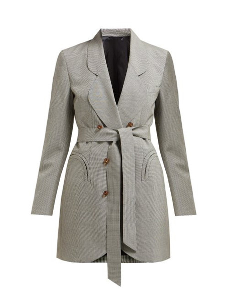 Blazé Milano - Tonino Double Breasted Houndstooth Wool Blazer - Womens - Grey