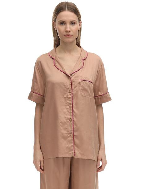 UNDERPROTECTION Lisa Short Sleeves Satin Pajama Shirt in beige