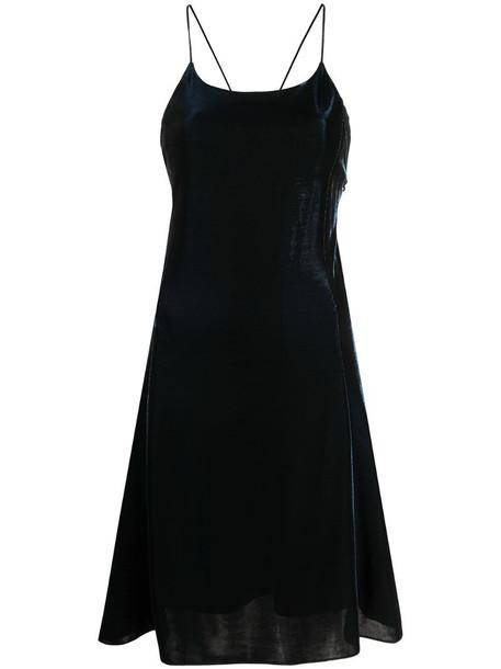 Emporio Armani velvet crisscross straps dress in blue