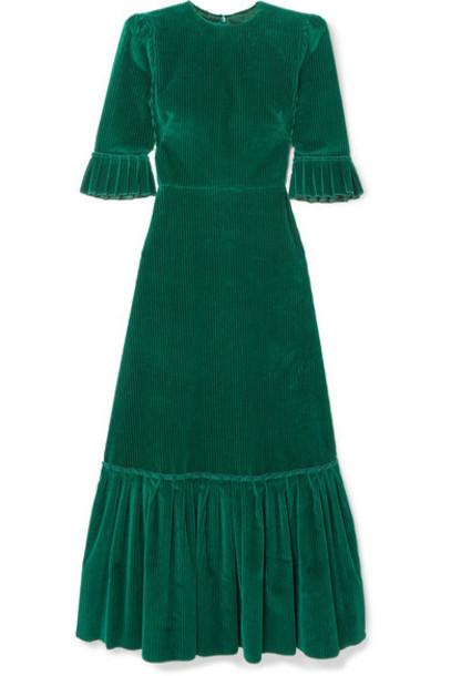 The Vampire's Wife - Festival Cotton-corduroy Maxi Dress - Emerald