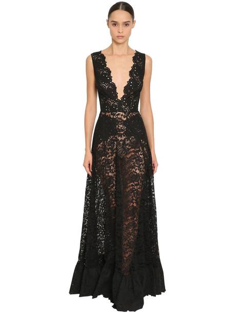 ZUHAIR MURAD Long Lace V Neck Dress in black