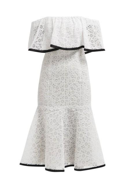 Carolina Herrera - Off The Shoulder Flared Hem Lace Midi Dress - Womens - White Black