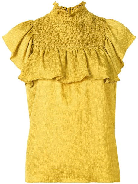 Baum Und Pferdgarten Malua smocked high-neck blouse in yellow