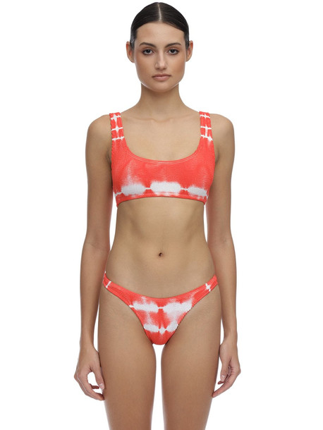BOND EYE Malibu Tie Dyed Seersucker Bikini Top in orange / white