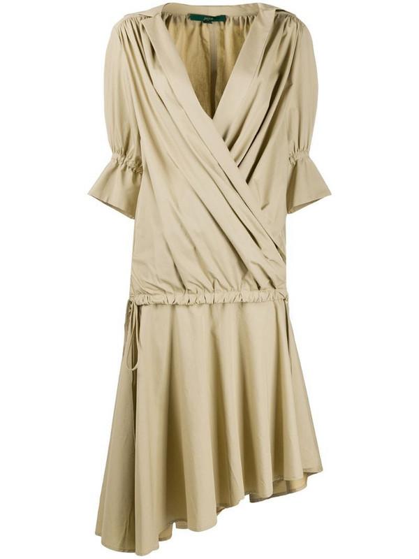 Jejia wrap-effect layered midi dress in neutrals