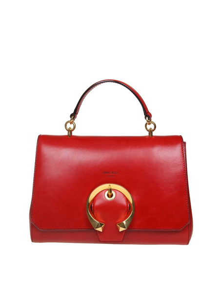 Jimmy Choo Madeline Handle Handle Leather Bag In Red Color