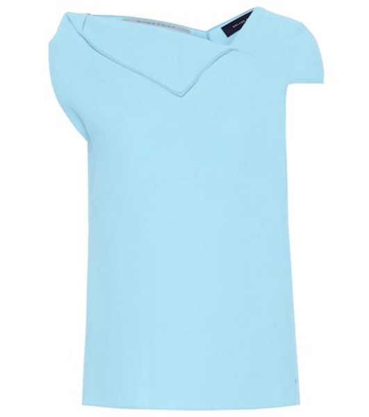 Roland Mouret Raywell wool crêpe top in blue