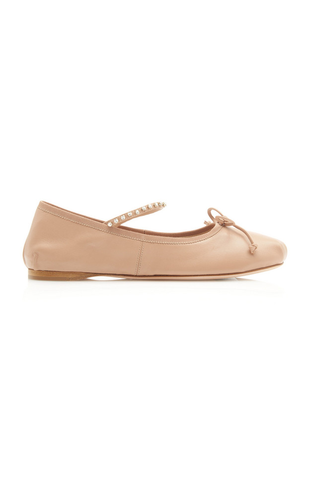 Miu Miu Crystal-Embellished Leather Ballet Flats in neutral