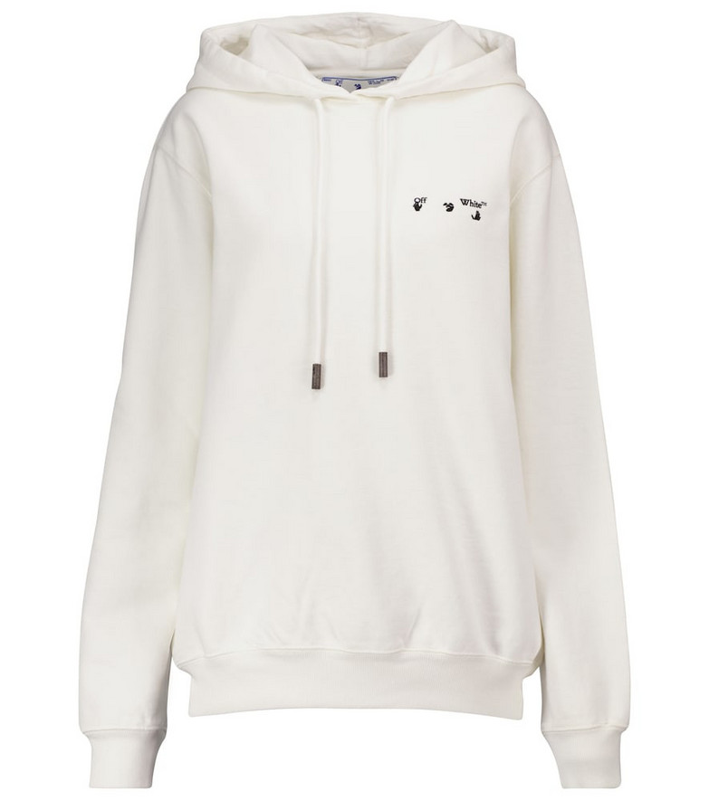 Off-White Logo cotton-jersey hoodie in white