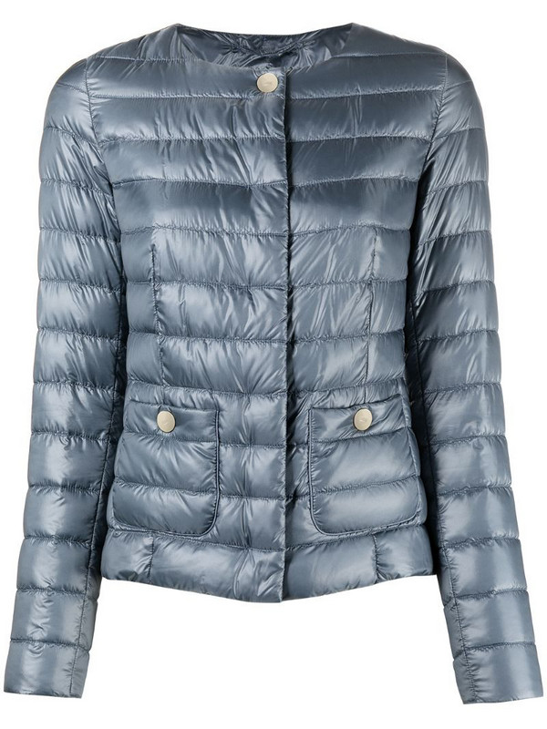 Herno collarless padded jacket in blue