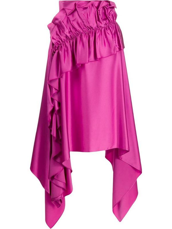 Christopher Kane asymmetric ruffle trim skirt in pink