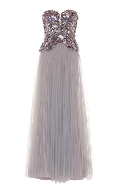 Alberta Ferretti Strapless Embroidered Tulle Gown in grey