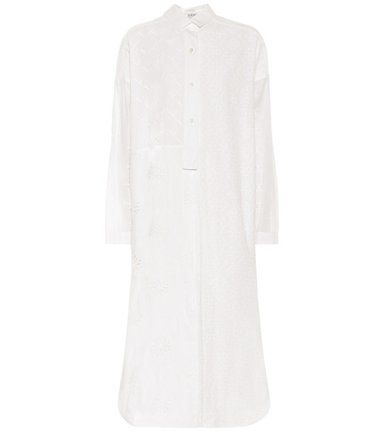 Loewe Cotton broderie anglaise shirt dress in white