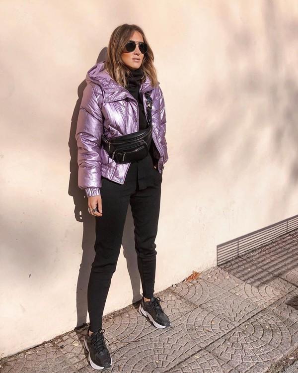 jacket puffer jacket black pants black sneakers black sweater belt bag