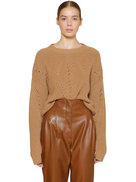 ALBERTA FERRETTI Cropped Wool Rib Knit Sweater in tan
