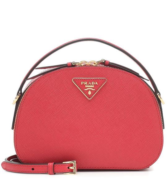 Prada Odette leather shoulder bag in red