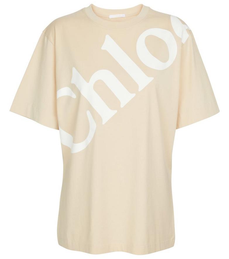 Chloé Logo cotton T-shirt in yellow