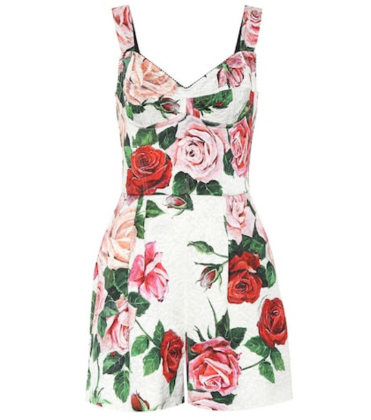 Dolce & Gabbana Printed floral playsuit in white