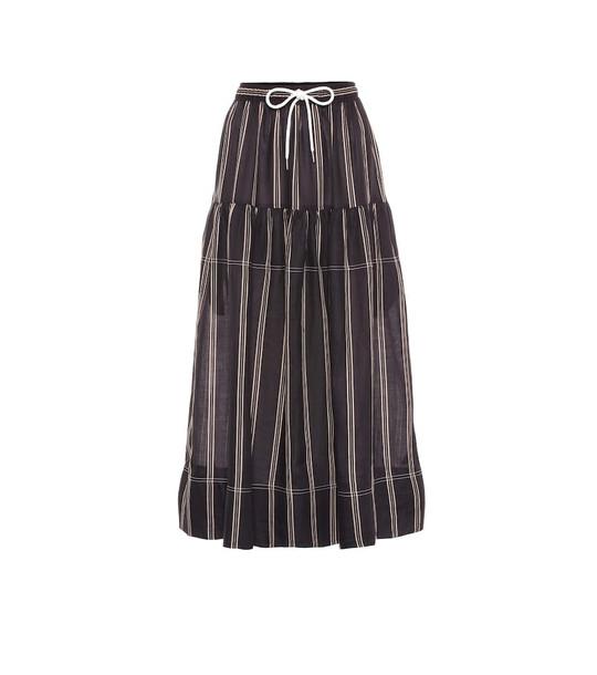 Lee Mathews Granada striped ramie skirt in black