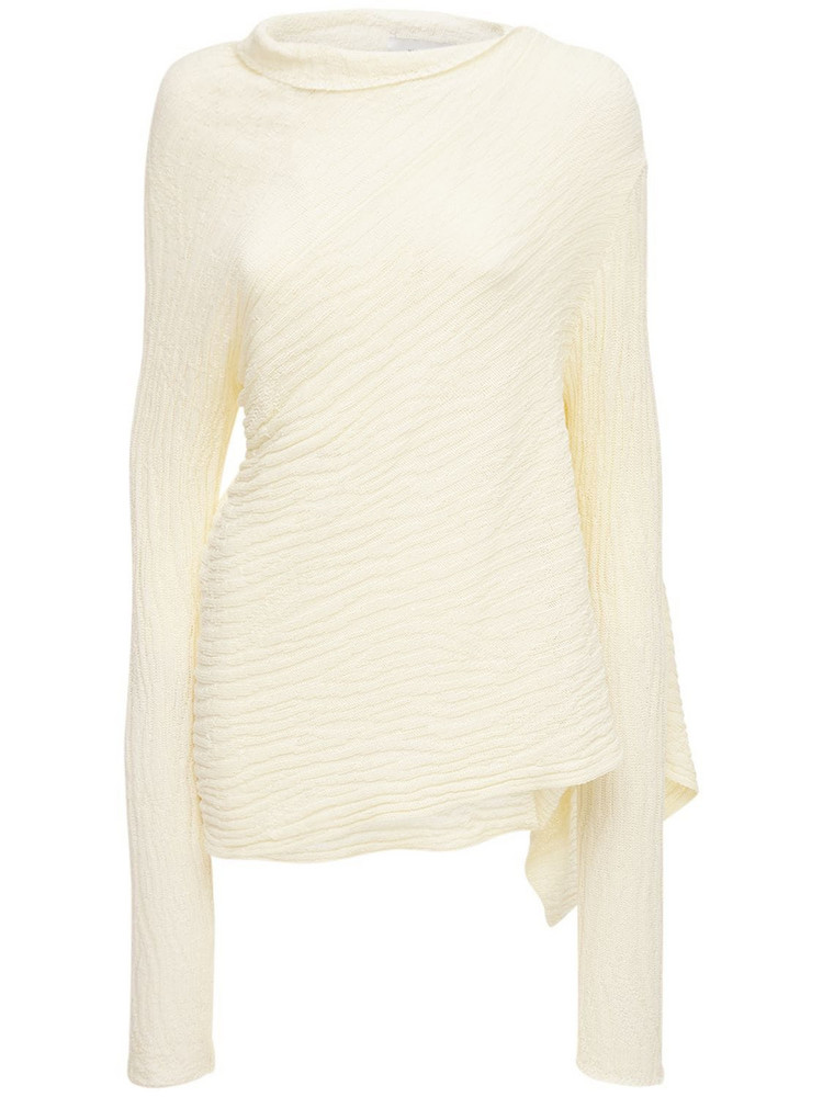 MARQUES'ALMEIDA Recycled Cotton Knit Turtleneck Sweater in beige