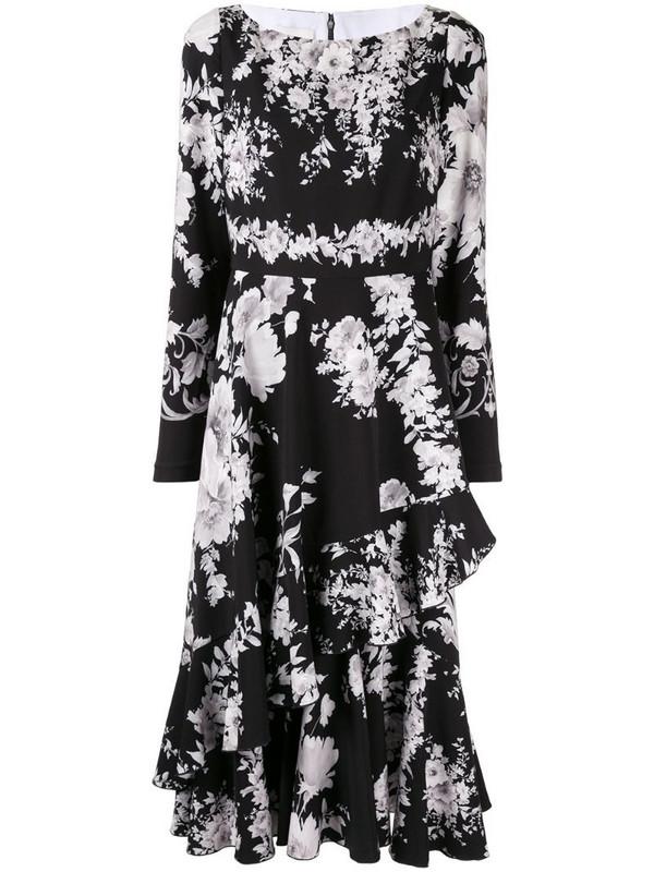 Ingie Paris floral long-sleeve midi dress in black