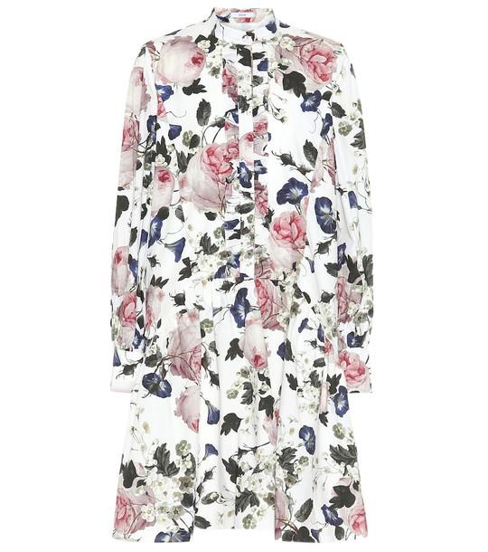 Erdem Quentin floral cotton-poplin minidress in white