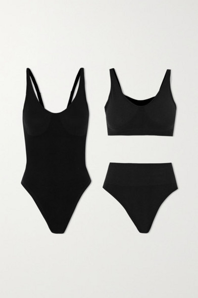 Skin - The Solutions Kit Ribbed Organic Cotton-blend Bodysuit in black