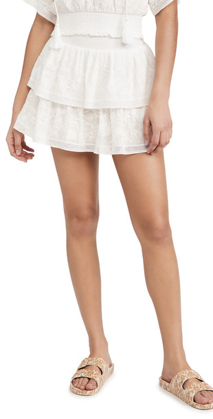 alice + olivia alice + olivia Jojo Ruffle Miniskirt in white
