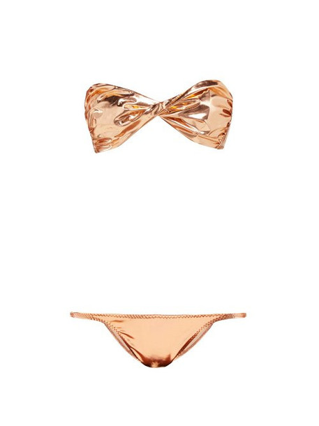 Lisa Marie Fernandez - Alexia Metallic Pvc Bikini - Womens - Rose Gold