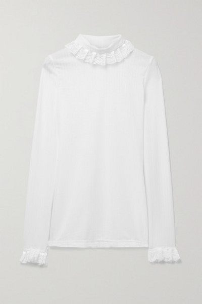 Àcheval Pampa Àcheval Pampa - Escalada Ruffled Lace-trimmed Ribbed-jersey Turtleneck Sweater - White