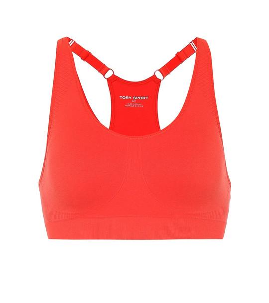 Tory Sport Seamless racerback sports bra in red