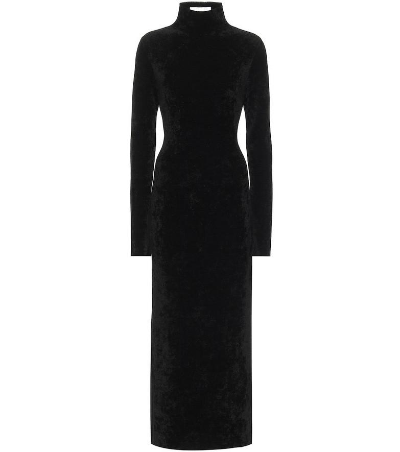 Jil Sander Velour mockneck midi dress in black