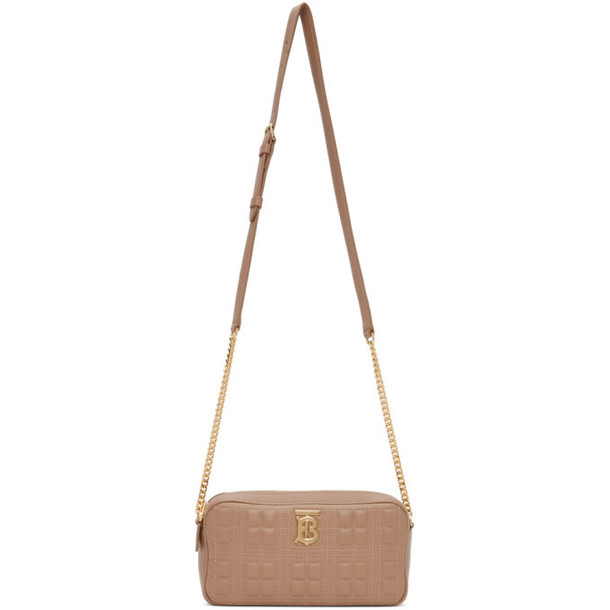 Burberry Brown Quilted Camera Bag in camel